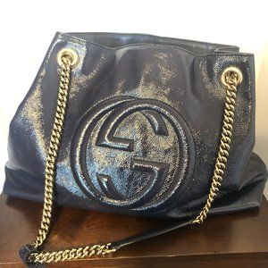 Gucci Patent Leather Soho Shoulder Bag with chain